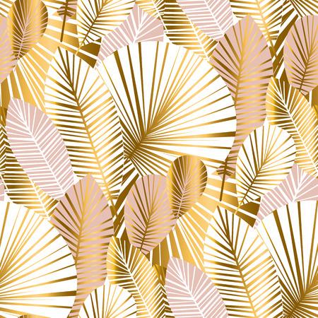 Resumen de oro y rosa pálido hojas de patrones sin fisuras para el fondo, papel de regalo, tela sobre fondo azul a cuadros. motivo floral repetible sin fin botalical para el diseño de superficies. ilustración vectorial de stock Ilustración de vector