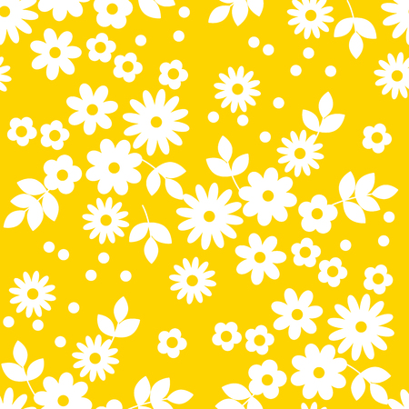 Abstract simple white flowers seamless pattern for background, wrapping paper, fabric. daisy floral endless repeatable motif for surface design. stock vector illustration