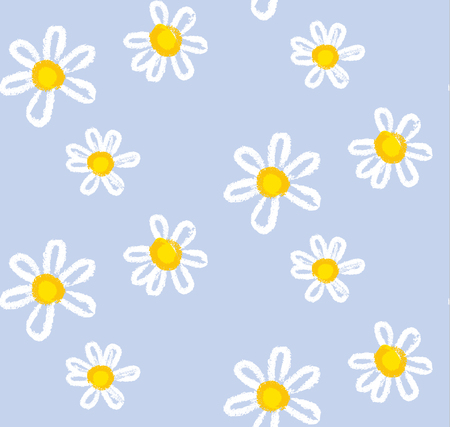 Hand drawn chamomile flowers seamless pattern for background, wrapping paper, fabric. daisy floral endless repeatable motif for surface design. stock vector illustration