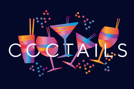 Abstract minimal geometric colorful tropical cocktail for header, card, invitation, poster, cover and other web and print design projects. Bar and drinks motif  stock vector illustration