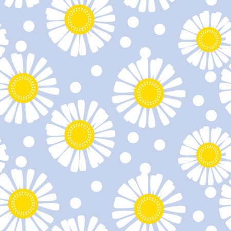 Daisy flower seamless pattern for background, wrapping paper, fabric. chamomile floral endless repeatable motif for surface design. stock vector illustration