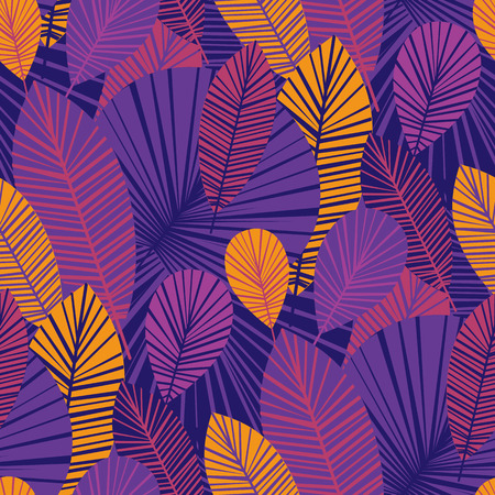 Vibrant cool leaves seamless pattern for background, wrapping paper, fabric. Modern tropical endless repeatable motif for surface design. stock vector illustration
