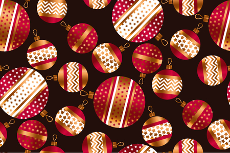 scattered red and gold xmas baubles seamless pattern. Fun Christmas decor element for background, wrapping paper, fabric. Endless repeatable motif for surface design Illustration