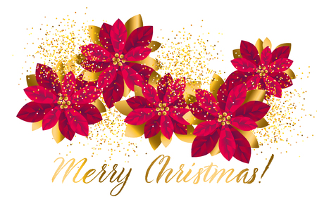 Xmas luxury gold poinsettia decorative flowers design element. Christmas floral motif for header, card, invitation, poster, cover and other web and print design projects. stock vector illustration. 일러스트