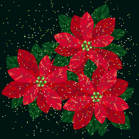 Red xmas poinsettia gradient flowers design element. Christmas floral motif for header, card, invitation, poster, cover and other web and print design projects. stock vector illustration.
