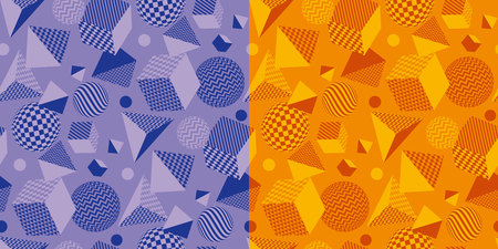 Cool and fun geometric seamless pattern. Concept 3d geometry repeatable motif in bright orange and violet colors for background, wrapping paper, fabric, surface design. Illustration