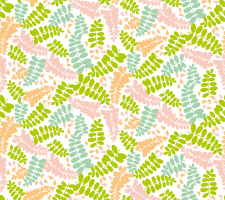 Acacia spring blossom flower seamless pattern. Tender mimosa motif for background, wrapping paper, fabric. Endless repeatable motif for surface design. stock vector illustration.