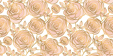 Abstract rose strocke style header pattern. Gold and pale rosy floral rapport for background, wrapping paper, fabric. Endless repeatable motif for surface design. stock vector illustration.