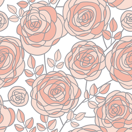 Simple pale color rose flowers seamless pattern. Abstract tender rosy floral rapport for background, wrapping paper, fabric. Endless repeatable motif for surface design. stock vector illustration.