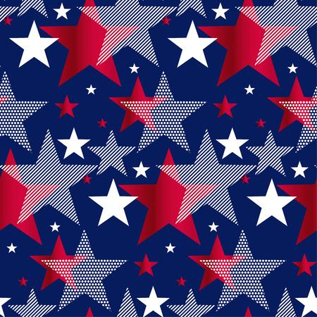 Modèle sans couture d'étoiles de symbole national des États-Unis. Élément de conception US Memorial Day. Motif répétable américain classique rouge et bleu pour le fond. Vecteurs