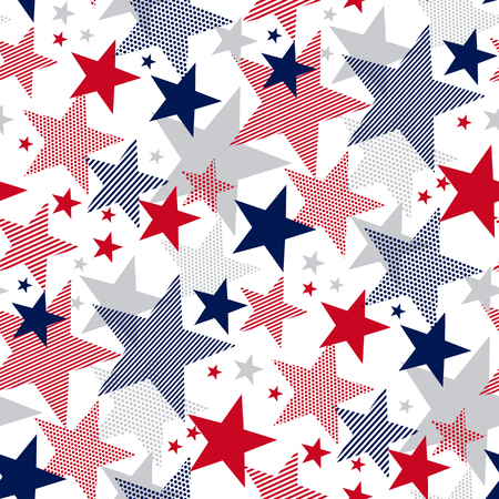 United States national symbol stars seamless pattern. US Memorial Day design element. Classic red and blue American repeatable motif for background.