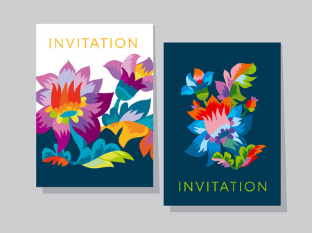 Vivid color bright naive flower pattern. Folk rustic flowers ornament for header, card, invitation, poster, cover and other web and print design projects Illustration