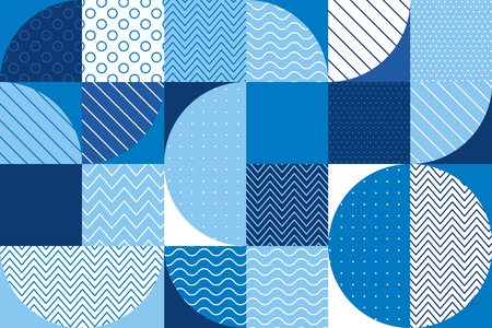 Summer sea blue geometry seamless pattern for background, wrapping paper, fabric. Endless repeatable motif for surface design