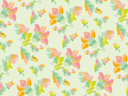 Pale color tender naive seamless pattern. Folk rustic flowers ornament for background, wrapping paper, fabric, surface design