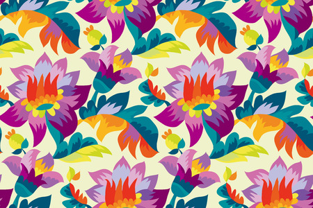 """Bright color folk style floral seamless pattern. Rustic festival flower ornament based on Ukraine traditional """"samchakivka"""" paintings."""
