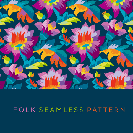 Bright color folk style floral seamless pattern. Rustic festival flower ornament based on Ukraine traditional