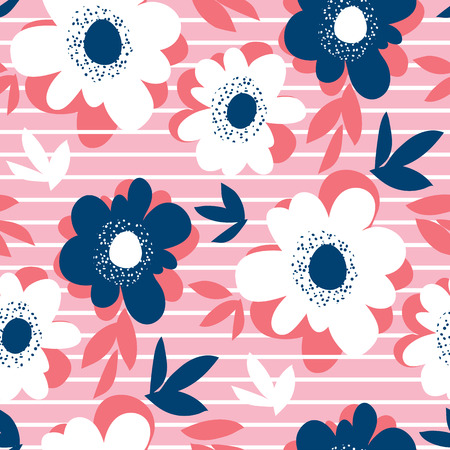 Decorative flower and stripes in summer colors. Seamless pattern for background, wrapping paper, fabric. Floral repeatable motif for surface design