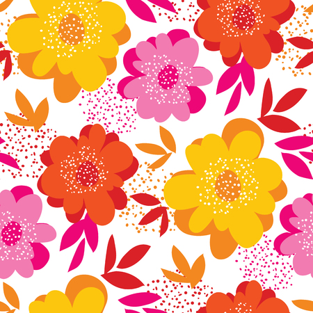 Summer vivid color floral seamless pattern for background, wrapping paper, fabric. Endless repeatable motif for surface design Illustration