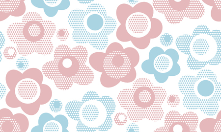 Pastel baby style floral seamless pattern. Cute geometric floral repeatable motif for surface design. Stock vector illustration Illustration