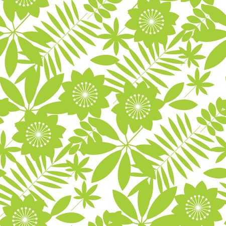 Simple tropical floral design seamless pattern for card, invitation, poster, cover and other web and print design projects. Jungle flower and leaves vector repeatable motif in geometric style.