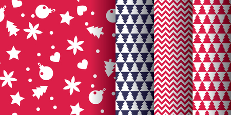 Simple classic xmas pattern set for background, wrapping paper, fabric, surface design. Naive Christmas repeatable motif in red and blue colors. stock vector illustration