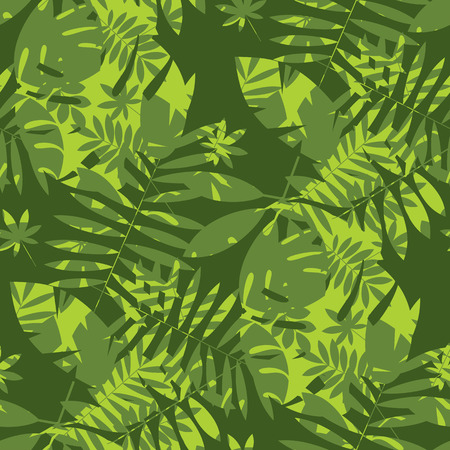Shabby jungle camouflage seamless pattern. Geometric sophisticated leaves endless repeatable motif for surface design. Abstract modern summer seamless pattern for background, wrapping paper, fabric. Illustration