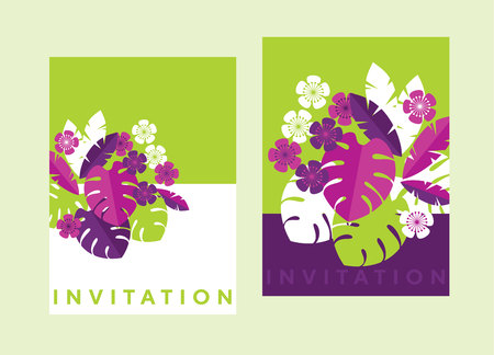 Vibrant bright simple tropical leaves design element for header, card, invitation, poster, cover and other web and print design projects. stock vector illustration
