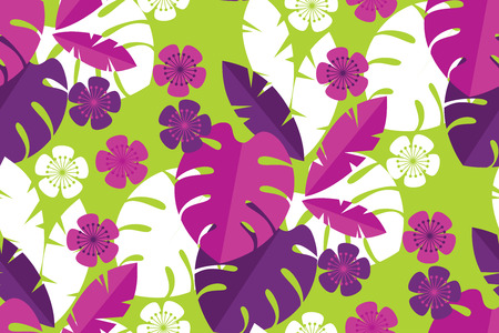 Vibrant bright simple tropical leaves seamless pattern. for background, wrapping paper, fabric, surface design. Endless colorful repeatable motif for surface design
