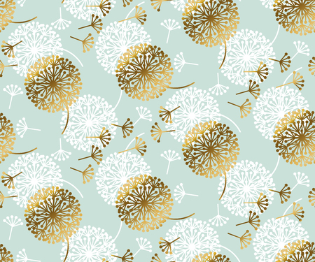 Turquoise and gold abstract dandelion flower seamless pattern for background, wrapping paper, fabric, surface design. stock vector illustration in fancy tender style.