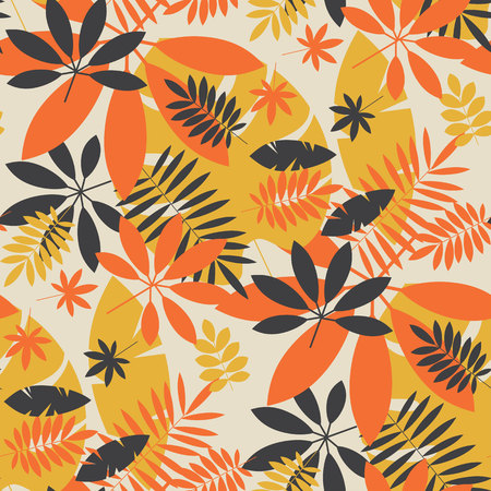 Vintage color jungle foliage seamless pattern. Geometric tropical  leaves endless repeatable motif for surface design. Abstract modern summer seamless pattern for background, wrapping paper, fabric. Illustration