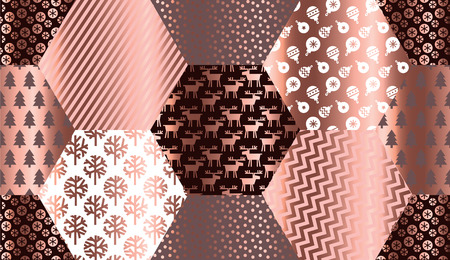 Elegant luxury xmas seamless pattern in geometric style. for background, wrapping paper, fabric, surface design. Endless gold and red Christmas repeatable motif for surface design