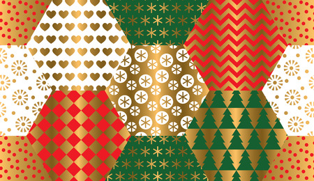 Xmas luxury winter symbols seamless pattern in patchwork style. for background, wrapping paper, fabric, surface design. Endless gold and red Christmas repeatable motif for surface design