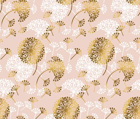 Rose goud concept paardebloem naadloze bloemenpatroon voor achtergrond, inpakpapier, stof, ontwerp van proefbaan. voorraad vectorillustratie in mooie tedere stijl. Vector Illustratie