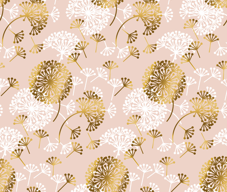 Rose gold concept dandelion flower seamless pattern for background, wrapping paper, fabric, surface design. stock vector illustration in fancy tender style.