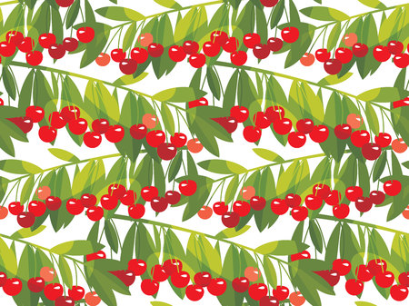 Rape cherry fruit  seamless pattern. Natural fruit tree branches repeatable motif in red and green colors