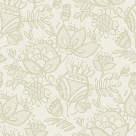 Seamless floral pattern with a abstract folk exotic flowers and tropic leaves. The elegant template for fashion prints, background, wrapping paper, fabric, surface design.
