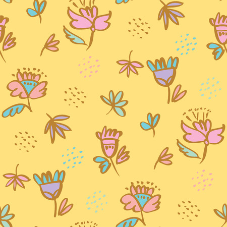 Cute pale color folklore style floral seamless pattern for background, wrapping paper, fabric, surface design. Endless flower and leaves repeatable motif for surface design