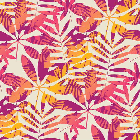Cool vivid bright color tropical leaves seamless pattern in 90s chaotic style. for background, wrapping paper, fabric, surface design. Endless colorful repeatable motif for surface design