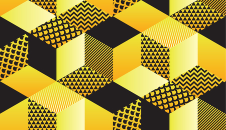 Cool retro 90s geometric hexagon seamless motif in yellow and black colors. Repeatable pattern for background, wrapping paper, fabric, surface design. stock vector illustration
