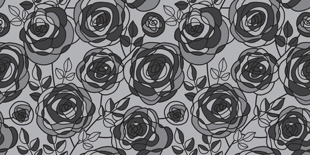black and gray hand drawn rose motif. seamless pattern for background, wrapping paper, fabric, surface design. stock vector illustration