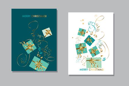 Élément de boîte-cadeau de Noël simple pour en-tête, carte, invitation, affiche, couverture et autre conception Web et imprimée. Motif de célébration de luxe or et vert. illustration vectorielle stock