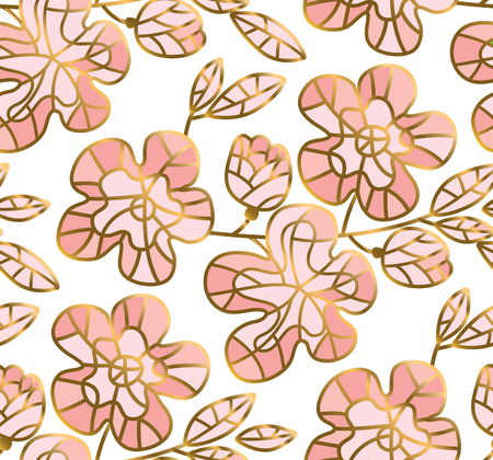Tender pastel rosy and gold color sakura flowers seamless pattern.