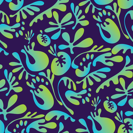 Abstract tropical colorful floral seamless pattern. Concept bright exotic summer flowers with unreal fairytale liquid shapes. Stock vector illustration for fabric, wrapping paper, surface design.