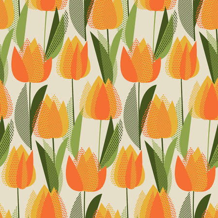 Modern abstract yellow tulip flowers seamless pattern.