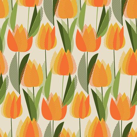 Modern abstract yellow tulip flowers seamless pattern.