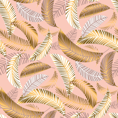 Pastel luxury exotic seamless pattern with palm leaves. 向量圖像