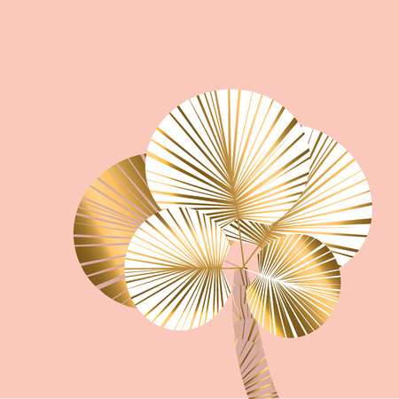 Decorative pastel rosy and gold color tropical palm for header, card, invitation, poster, cover and other web and print design projects