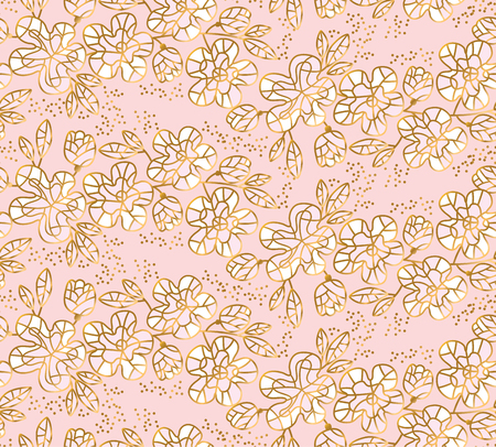 Tender pastel rosy and gold color sakura flowers seamless pattern. Decorative floral vector illustration. Illustration