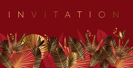 Gold and red geometric tropical pattern or card, invitation, header. Golden romantic simple flowers motif. Bright rich design element inspired by Chinese fabric.