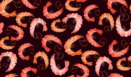 Decorative stylish shrimp seamless pattern.  Repeat motif for background, wrapping paper, fabric, surface design